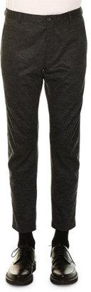 Lanvin Tonal-Check Wool Biker Pants, Charcoal $945 thestylecure.com