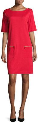 Joan Vass Short-Sleeve Cotton Zip-Pocket Dress $198 thestylecure.com