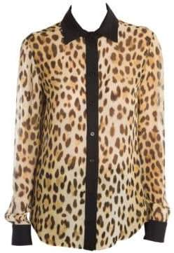 Moschino Leopard Button-Down Blouse
