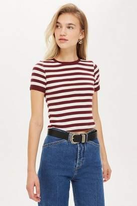 6342891c563e4 Topshop Womens Petite Stripe Scallop Top