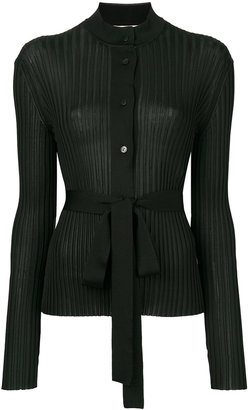 belted ribbed-knit cardigan