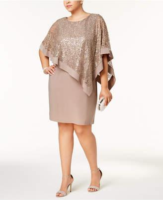 R & M Richards Plus Size Sequined Lace Cape Dress
