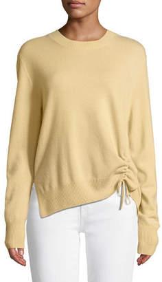 Vince Cinched-Side Crewneck Cashmere Sweater