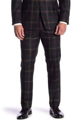 "Tommy Hilfiger Tyler Navy Plaid Wool Modern Fit Stretch Suit Separates Pants - 30-34"" Inseam"