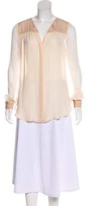 Haute Hippie Silk Long Sleeve Blouse