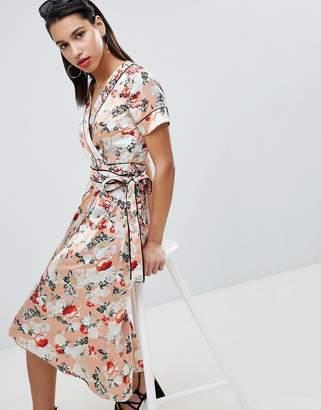 3dac4066e9b Vila Floral Satin Kimono Wrap Dress With Piping Detail