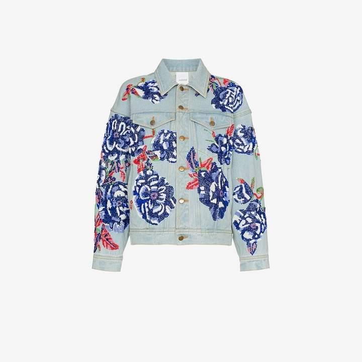 Flower embroidered cotton denim jacket
