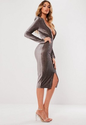 Missguided Metallic Stripe Plunge Bodycon Dress