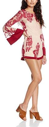 MinkPink Women's The Sweetest Thing Sound Long Sleeve Playsuit,(Manufacturer Size:Small)