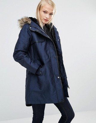 Oasis Parka Jacket With Faux Fur and Leather Look Trim $181 thestylecure.com