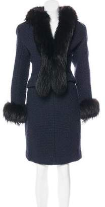 Chanel Fur-Trimmed Tweed Skirt Suit