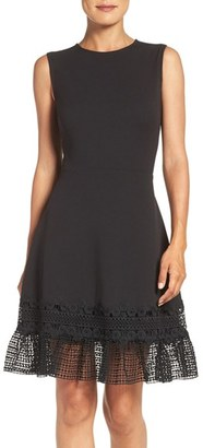 Women's Julia Jordan Lace Hem Fit & Flare Dress $138 thestylecure.com