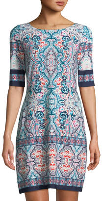 Eliza J Half-Sleeve Medallion Jersey Shift Dress