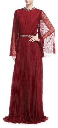 Sachin + Babi Vidya Long-Sleeve Embellished Lace Gown