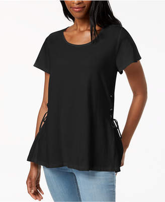 Style&Co. Style & Co Flutter-Sleeve Lace-Up T-Shirt, Created for Macy's