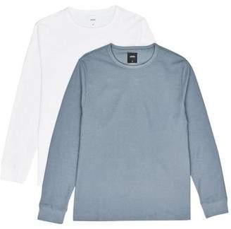 Burton Mens 2 Pack White and Blue Fog Mini Waffle Long Sleeve T-Shirt