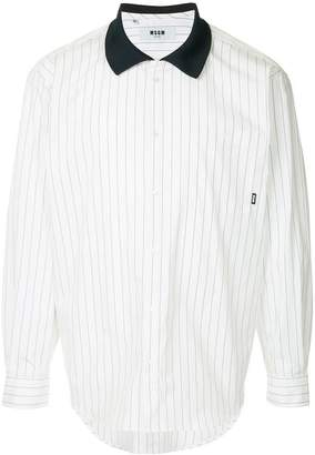 MSGM contrast collar striped shirt