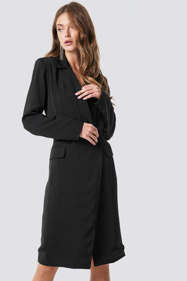 Na Kd Classic Wrap Over Midi Blazer Dress Black