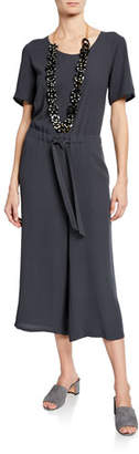 Eileen Fisher Scoop-Neck Short-Sleeve Crop Wide-Leg Silk Crepe Jumpsuit