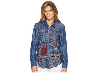 Tribal Long Sleeve Shirt with Print Combo Women's Clothing