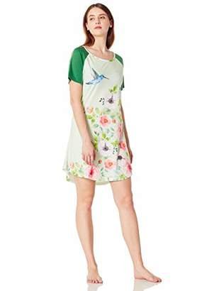 Selene Women's Round Neck Pajama Dress Soft Nightgown Short Sleeve Floral & Bird Printed XXL