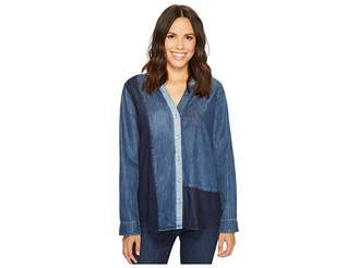 NYDJ Mixed Wash Denim Shirt Women's Long Sleeve Button Up