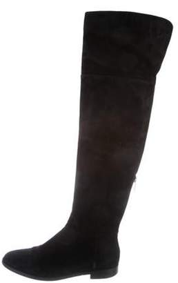 Sergio Rossi Suede Over-The-Knee Boots Black Suede Over-The-Knee Boots