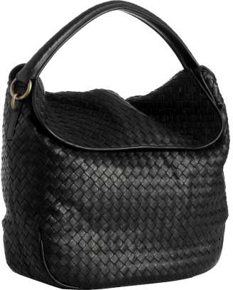 Bottega Veneta black woven leather fold-over shoulder bag