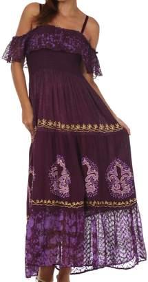 Sakkas 37A Batik Jaquard Off Shoulder Crepe Hem Peasant Dress