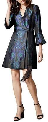 Karen Millen Floral Jacquard Faux-Wrap Dress