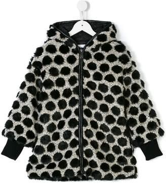 Elsy faux fur-trimmed polka dot coat