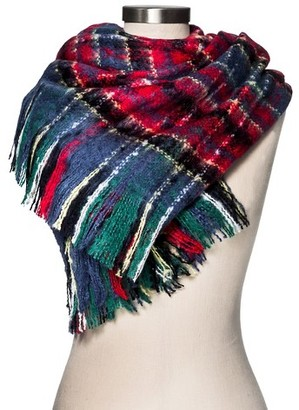 Merona Women's Blanket Scarf Brushed Navy/Red Plaid - Merona $19.99 thestylecure.com
