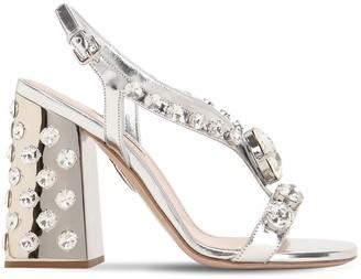 Miu Miu 105mm Embellished Leather Sandals