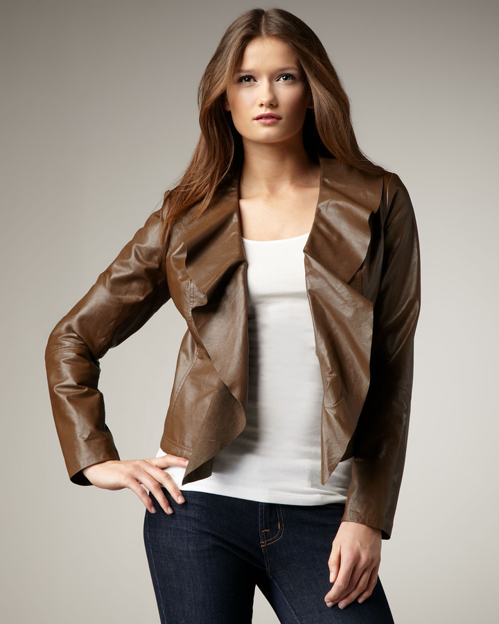 Neiman Marcus Leather Cascade Jacket