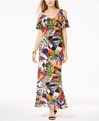 MSK Printed Cold-Shoulder Maxi Dress