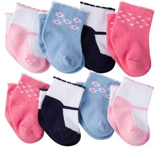 Gerber Newborn Baby Girl Ankle Bootie Sock, 8-Pack