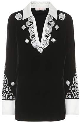 Tory Burch Hadley velvet embellished top