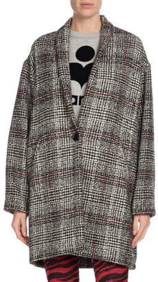 Etoile Isabel Marant Eabrie Oversized Plaid Shawl-Collar Jacket