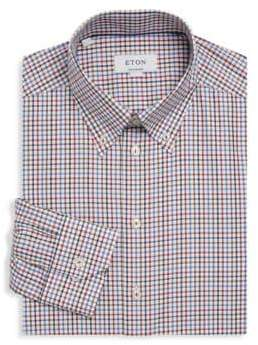 Eton Contemporary-Fit Gingham Cotton Dress Shirt