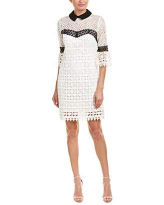 Nanette Lepore Nanette Women's 3/4 SLV Lace Dress W/Contrast Collar &Trim