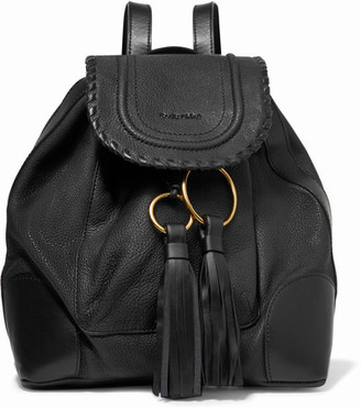 See by Chloé - Polly Tasseled Whipstitched Textured-leather Backpack - Black $525 thestylecure.com