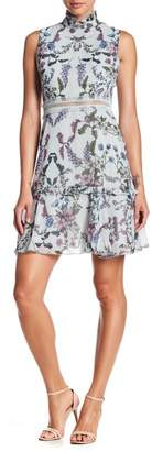 Donna Morgan Sleeveless Floral Print Ruffle Trim Dress