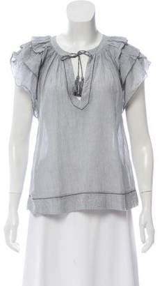 Ulla Johnson V-neck Short Sleeve Top