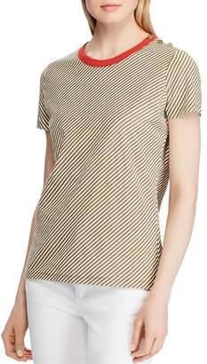 Ralph Lauren Striped Shoulder-Button Tee