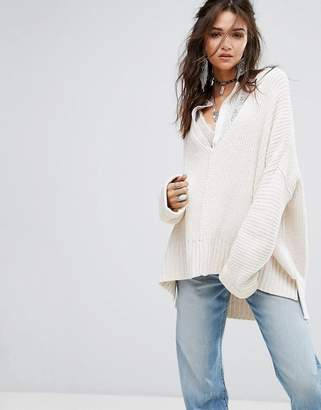 Free People Take Over Me V Neck Knit Jumper