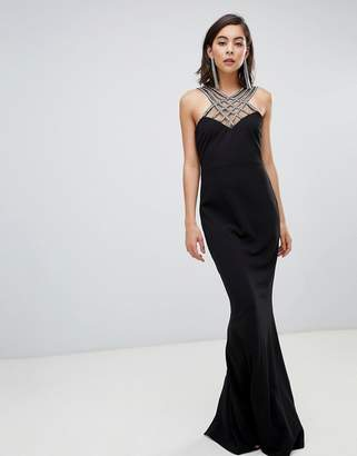 City Goddess Criss Cross Embellished Neckline Maxi Dress
