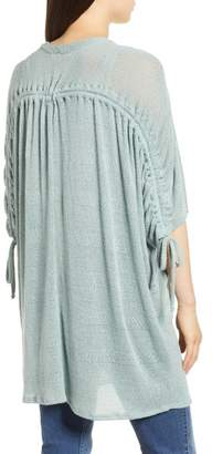 Everleigh Cinch Back Tie Sleeve Open Cardigan (Regular & Petite)