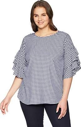 Karen Kane Women's Plus Size Gingham Ruffle Sleeve TOP