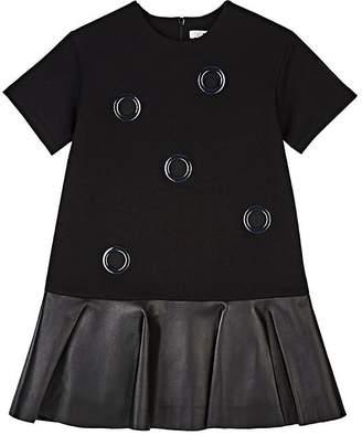 DINUI Grommet-Embellished Ponte & Leather Dress
