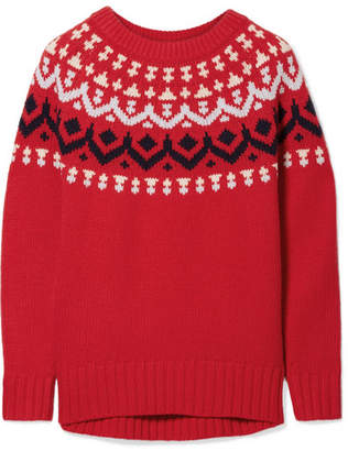 J.Crew Ivan Fair Isle Merino Wool-blend Sweater - Red